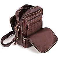 Bolsos Bandolera Hombre Pequeñas Cuero Bolsa de Hombro Messenger Bag Bolsa de Piel con Tarjetero y Portaplumas para iPad…