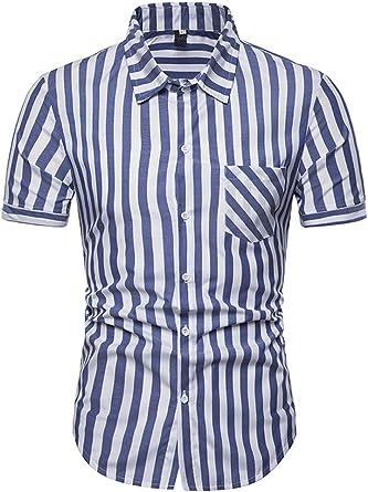 Camisas Verano Hombre Moda Fiesta Basicas Blusas Superiores Manga Corta De Solapa Bicolor Rayas Verticales Camisa Casuales Hombres Blusas Classic Cómodo: Amazon.es: Ropa y accesorios