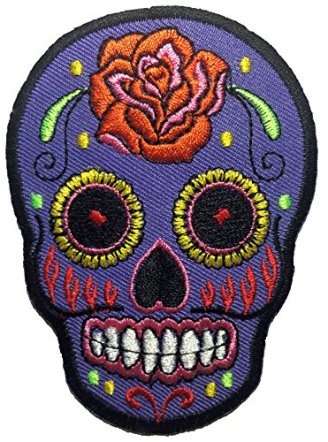 [Skull rose (gray) patch SIZE 6.5x9cm. biker heavy metal Logo Jacket Vest shirt hat blanket backpack T shirt Patches Embroidered Appliques Symbol Badge Cloth Sign Costume] (German Officer Hat Costume)