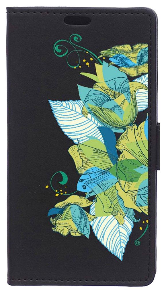 BeCool Funda Libro para Xiaomi Mi6- Carcasa con función Soporte, Ranuras para tarjetes y Billetes, Diseño Ramo Flores Turquesa