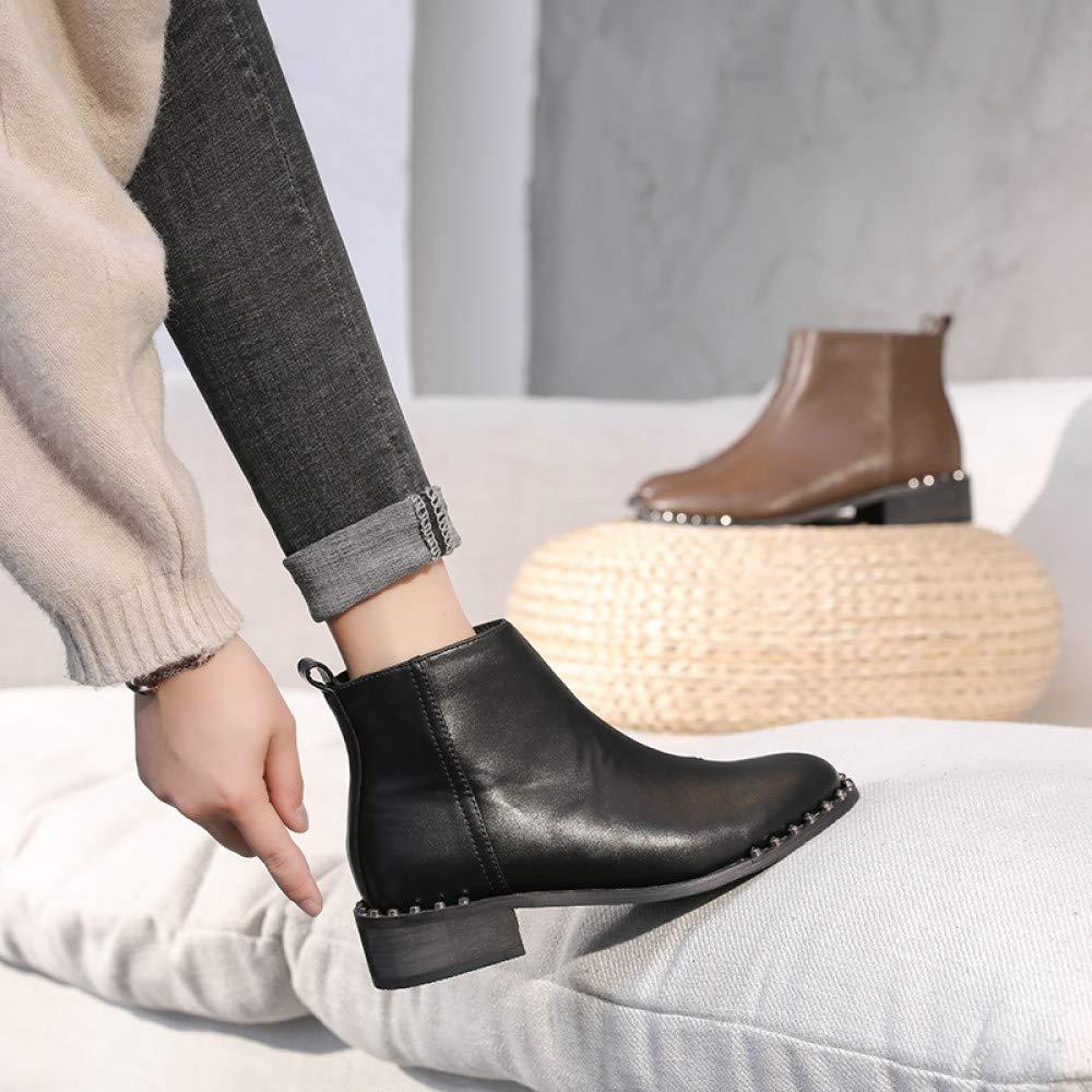Qingchunhuangtang Stiefelies Damen Herbst und Winter dicken mit Martin Stiefel weiblichen britischen kurzen Stiefeln
