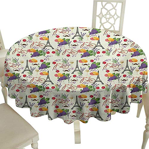 cobeDecor Elegant Waterproof Spillproof Polyester Fabric Table Cover European French Themed Paris Must Have Macarons Wines Grapes Bikes Berries Eiffel Art Print D70 Multicolor