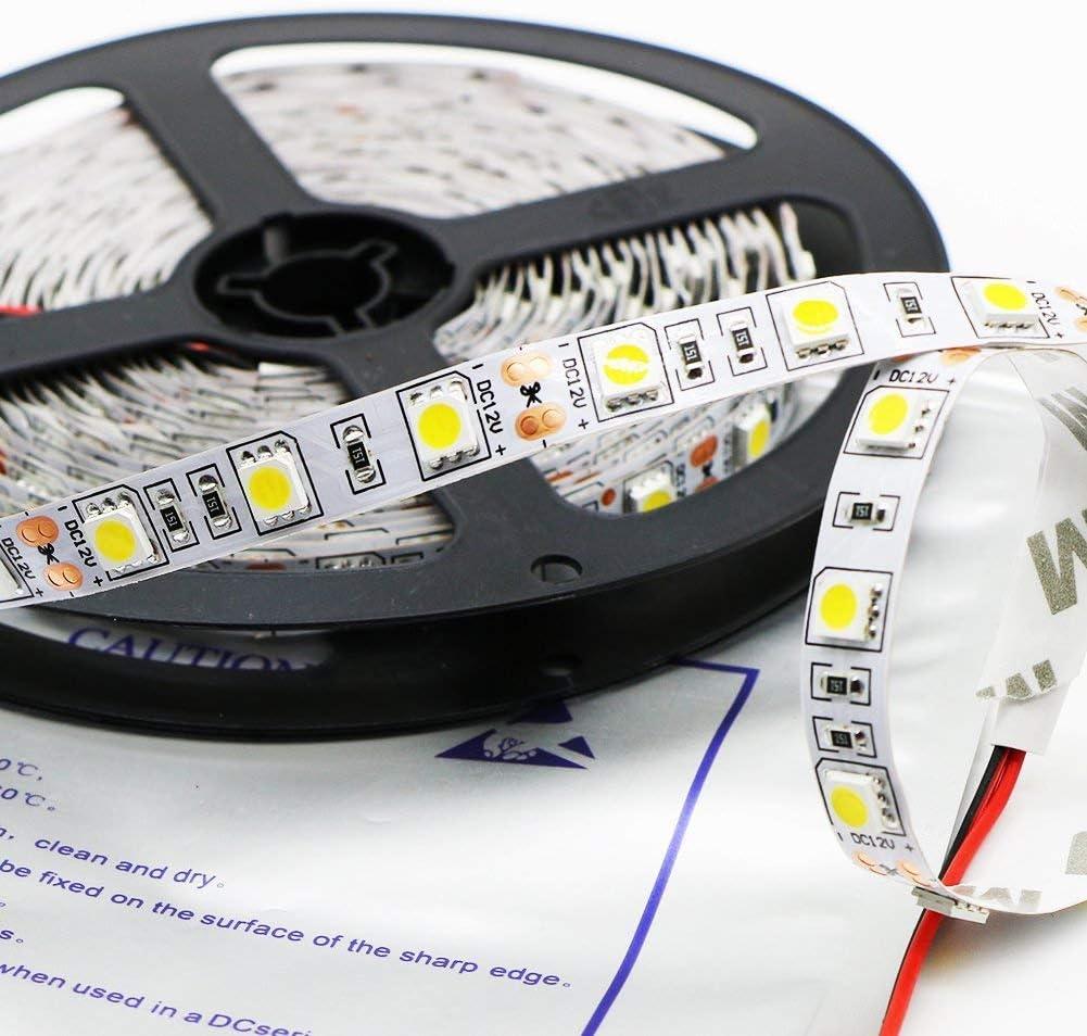 Kebinfen® 16.4ft(5m) SMD 5050 Blanco Natural Luces Tira LED Flexibles 4000K No Resistente al Agua 300LEDs/Rodar Franja de luz LED La luz LED de cinta multifuncional