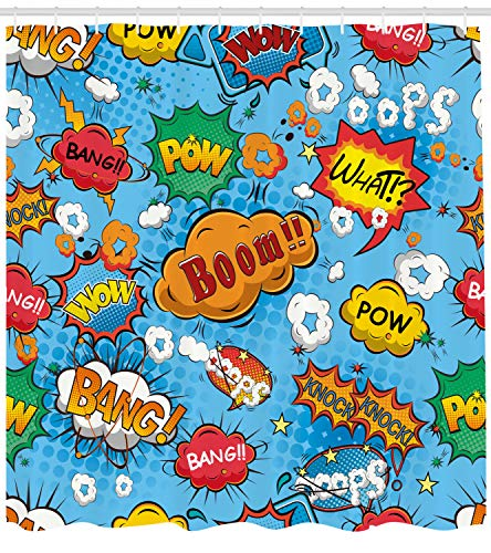 Ambesonne Superhero Shower Curtain by, Colorful Comic Style Icons Effects Boom Scream Magazine Signs Pop Art Illustarion, Fabric Bathroom Decor Set with Hooks, 70 Inches, -