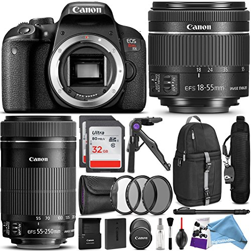 Canon EOS Rebel T7i DSLR Camera with 18-55mm and 55-250mm Lenses Kit w/ Advanced Photo and DigitalAndMore Travel Bundle + Free Accessories by DigitalAndMore