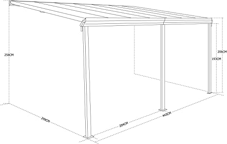 Alices Garden - Pérgola de pared en aluminio y policarbonato de ...