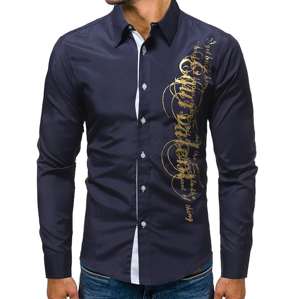 LuckyGirls Camisas Formales Blazers de Hombre Manga Larga Negocio Moda Estampado de Oro Camisetas Casual Entallada Remeras de Trajes