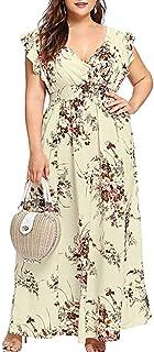 TPulling Damen Sommer Print Color Block Ärmelloses Kleid Mini Sommerkleid Blumenkleid Blumedrucken Strandkleid