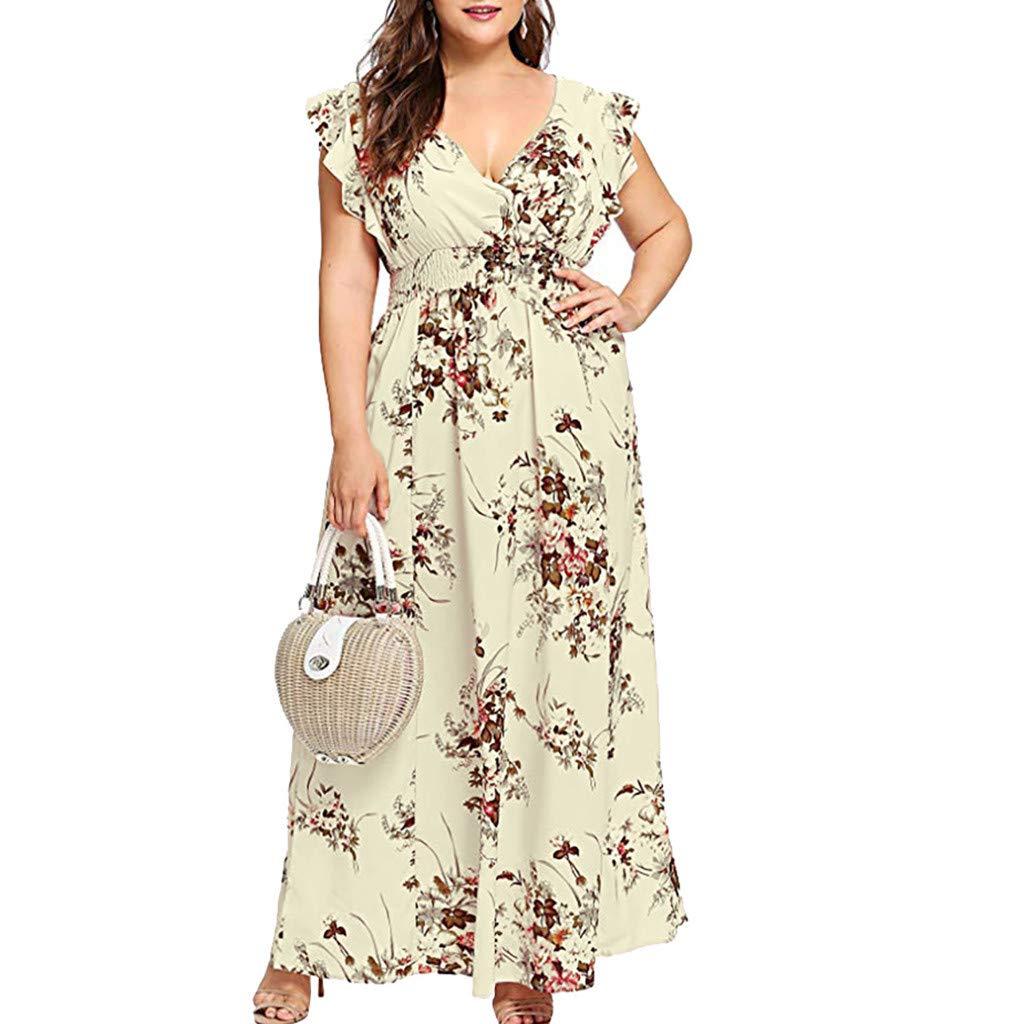 iLUGU Women Plus Size Summer V Neck Floral Print Boho Sleeveless Party Maxi Dress