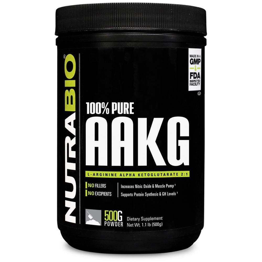 NutraBio 100% Pure Arginine AKG Powder - 500 Grams