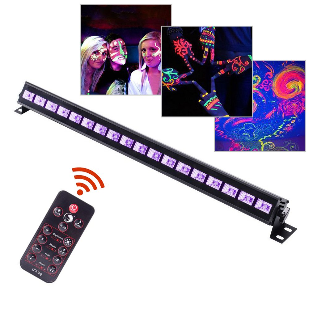 UV LED Black Light 3Wx18 LED Bar Lighting for Parties Halloween Club Metal Housing by U`King (54.00)