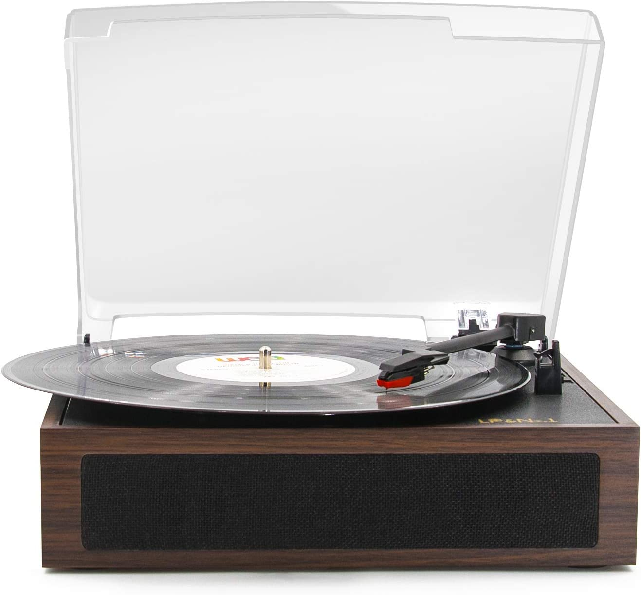 LP&No.1 Vintage Vinyl Record Player with Stereo Speakers,3 Speed Turntable, Dark Brown