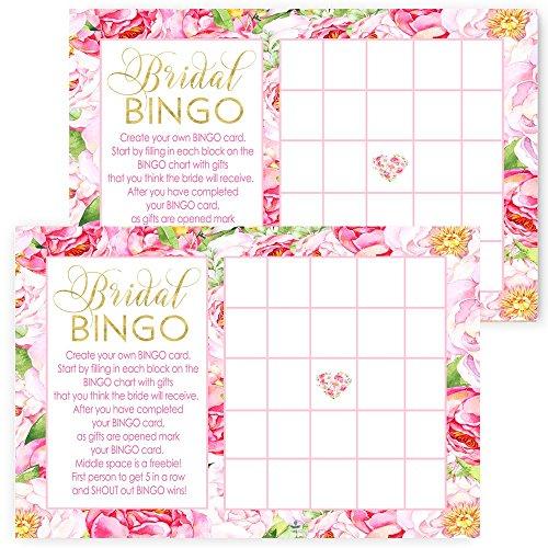 Floral Bridal Shower Bingo Game Set of 25