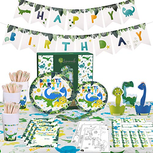 Dinosaur Party Supplies set - Happy Birthday Banner Plates Cups Cutlery Napkins Table Cover Decorations Cup Cake Wrappers and Toppers - Dino Kids Themed Dinosaurs kit - Serves 16 - 132 Pieces by Lemonade Parade