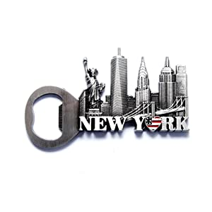 NYC Skyline Opener New York Souvenir Metal Fridge NY Magnet - US Flag,Statue of Liberty,Empire State Building,Chrysler Building,NYC Magnet Metal (Pack 1)