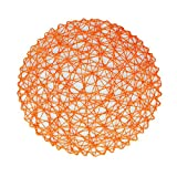 Vlovelife 15 Inch Round Woven Place Mats, Set of 6, Paper Fiber Table Placemats Hollow Decorative Placemat Dinning Place Mats Decor - Orange