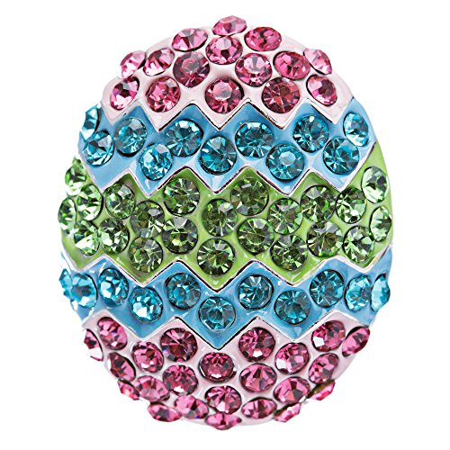 Spring Easter Jewelry Crystal Rhinestones Sparkle Dazzle Egg Charm Brooch Pin