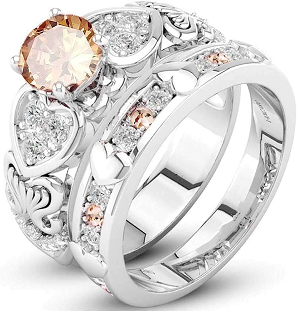 XAHH Wedding Band Engagement Ring Set for Women White Gold 2.5Ct Round White AAA Cz Size 5-11