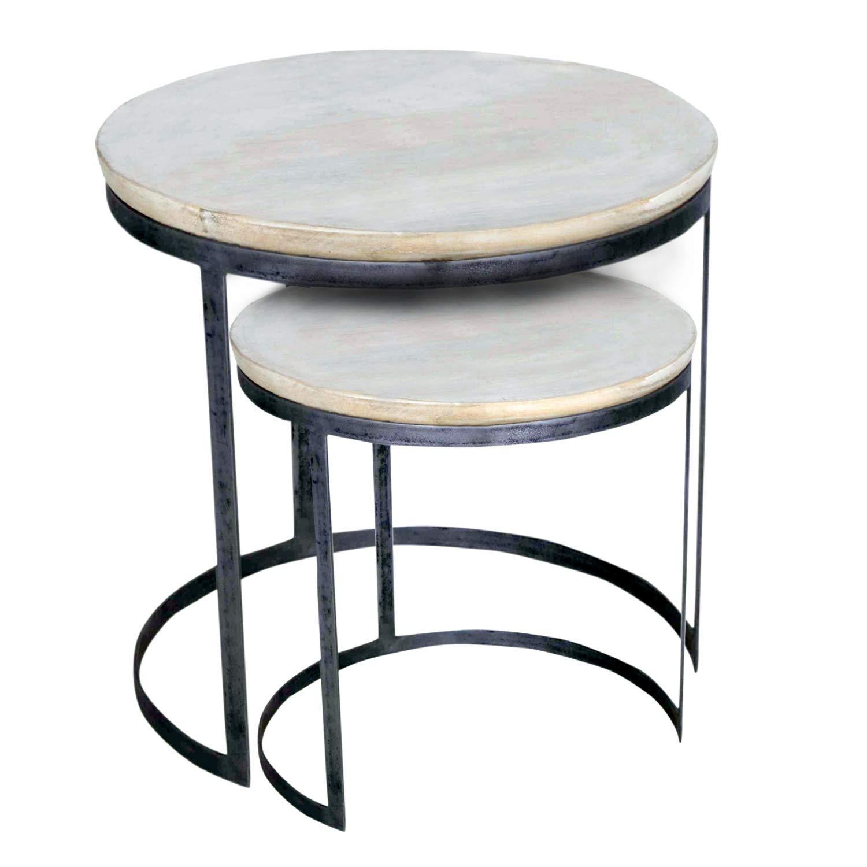 casamia Couchtisch 2er Set Wohnzimmer-Tisch-Set rund Austin, Metall-Gestell Altsilber Farbe weiß gekälkt