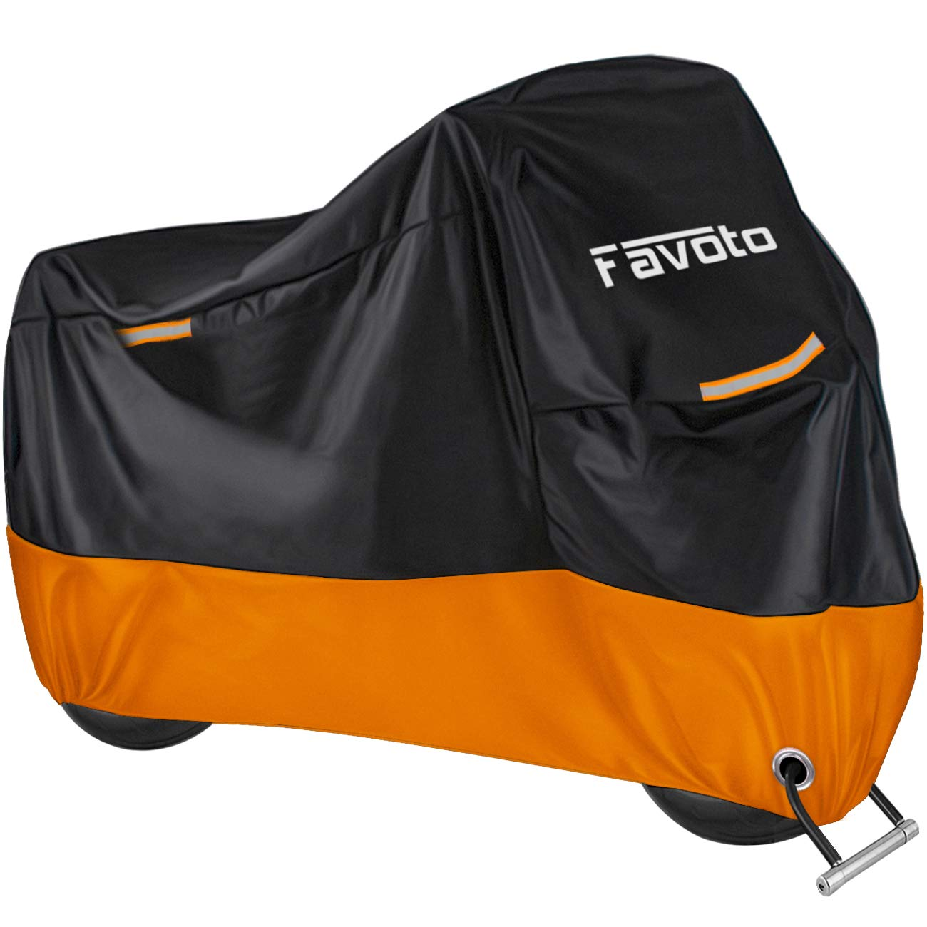 """Favoto Motorcycle Cover All Season Universal Weather Premium Quality Waterproof Windproof Outdoor Durable Night Reflective with Lock-Holes & Storage Bag Fits up to 96.5"""" Motorcycle Vehicle Cover"""