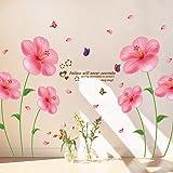 Takarafune ウォールステッカー 花 壁紙シール ムクゲ 剥がせる 壁紙 部屋飾り 春 ウォールステッカー 防水 おしゃれ