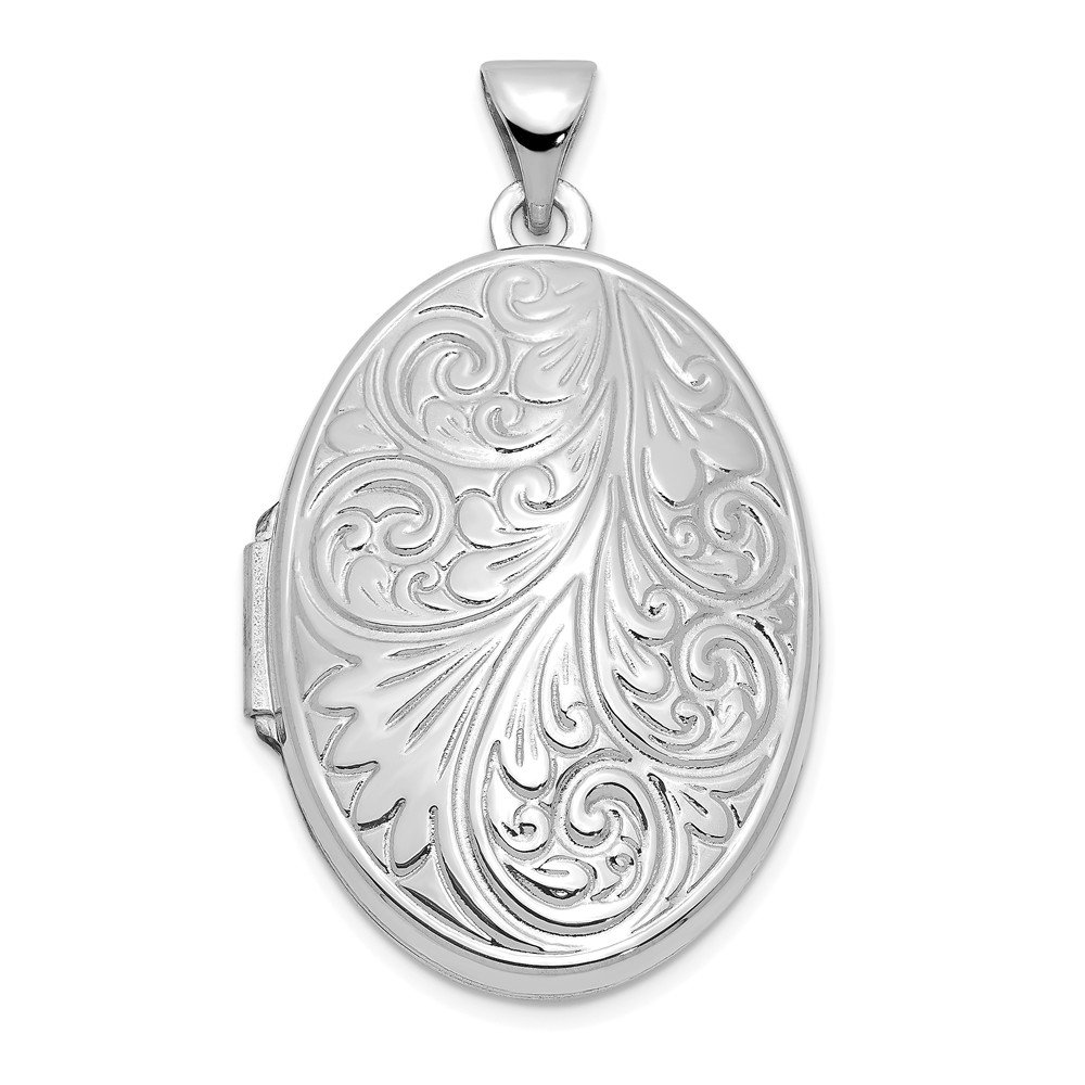 14k White Gold Scroll Oval Photo Pendant Charm Locket Chain Necklace That Holds Pictures Fine Jewelry Gifts For Women For Her