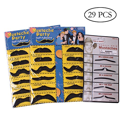 YGDZ 24 Pack Funny Hairy Black Mustaches and 5 Pack Movie Star Fake Mustaches Shipping by FBA (Holloween Costume Photos)