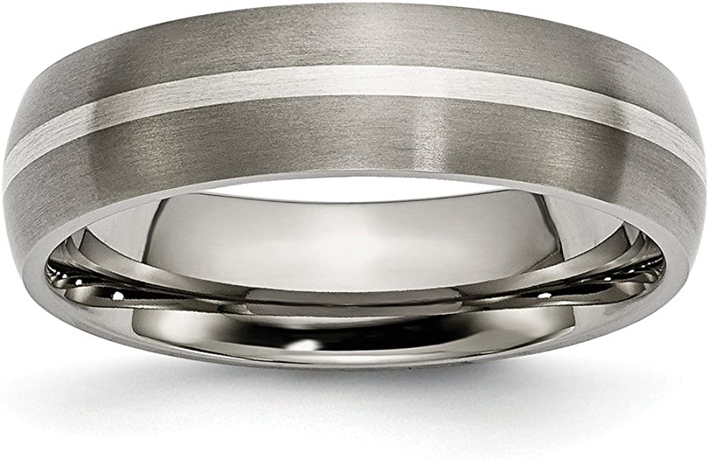 Best Birthday Gift Titanium Sterling Silver Inlay 6mm Brushed Band