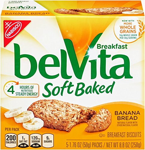belVita Soft Baked Breakfast Biscuits, Banana Bread, 5 Count Box, 8.8 Ounce (Pack of 6)