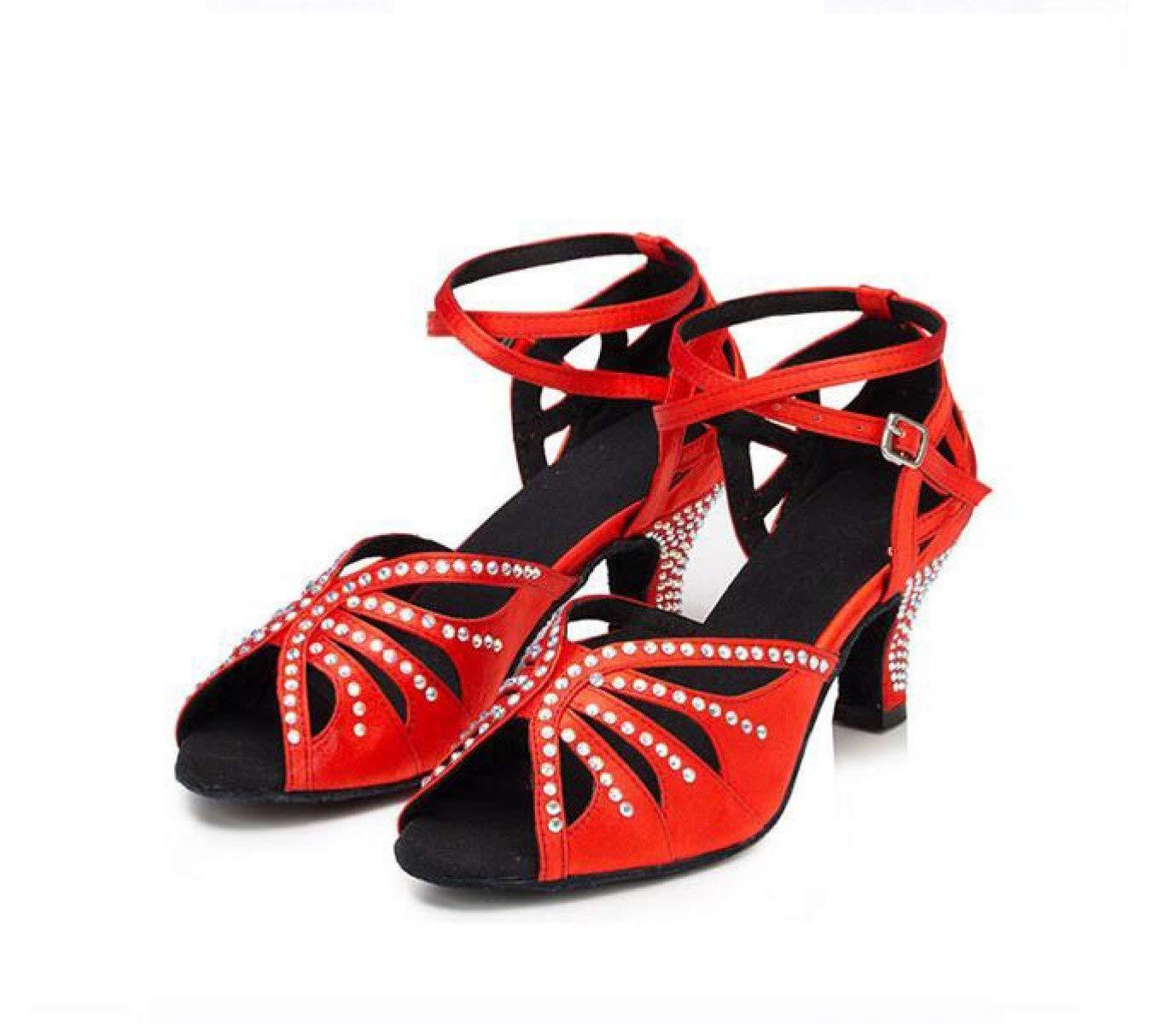 Frauen Kristalle Sparking Satin Latin Salsa Tanzschuhe Tango Chacha Chacha Chacha Samba Modern Jazz Schuhe Sandalen High Heels BlauHeeled7.5cm-UK4   EU35   Our36 44f580