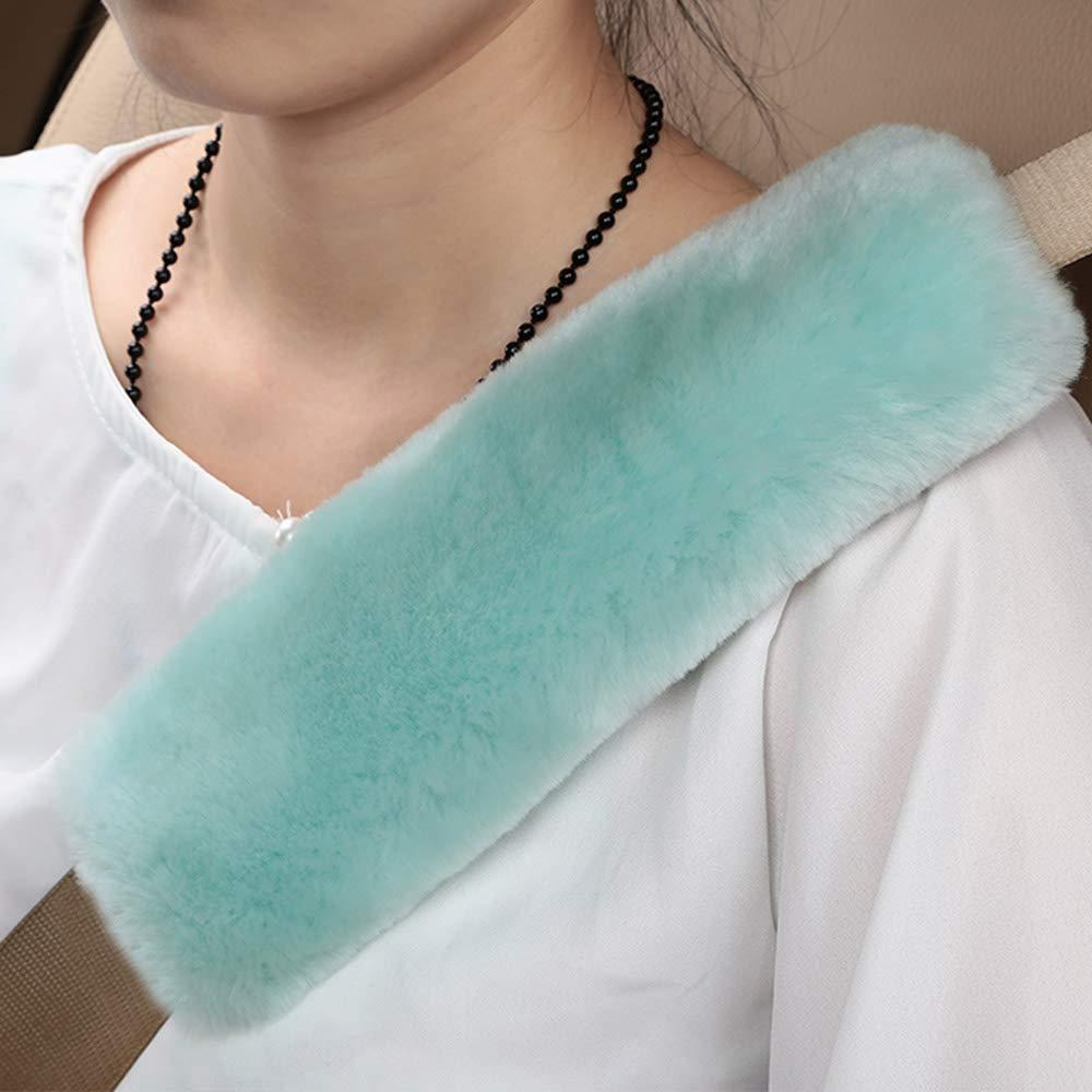 Almohadilla para cubrir la correa del hombro Coj/ín protector de cuello Lana genuina de piel de oveja Cubierta del cintur/ón de seguridad del coche Paquete de 2 pulgadas de largo