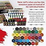 The Army Painter Miniature Painting Kit with Bonus Wargamer Regiment Miniature Paint Brush - Acrylic Model Paint Set with 50 Bottles of Non Toxic Model Paints - Mega Paint Set 3 from The Army Painter