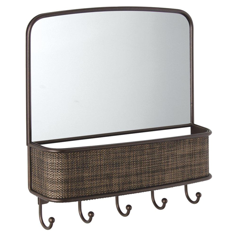 InterDesign Espejo de Pared y Organizador de Correspondencia 26.75x6.25x29.25 cm Acero Bronce