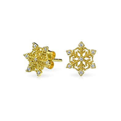 c9fbf6708a Image Unavailable. Image not available for. Color: Winter Holiday Christmas CZ  Pave Accent Snowflake Stud Earrings For Women For Teen 14K Gold Plated