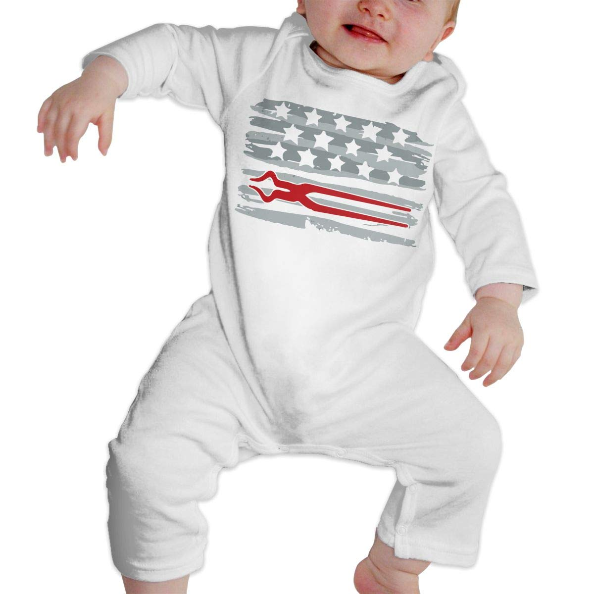 LBJQ8 Ironworker Irish American Flag Baby Infant Girls Long Sleeve Bodysuits Coverall Jumpsuit
