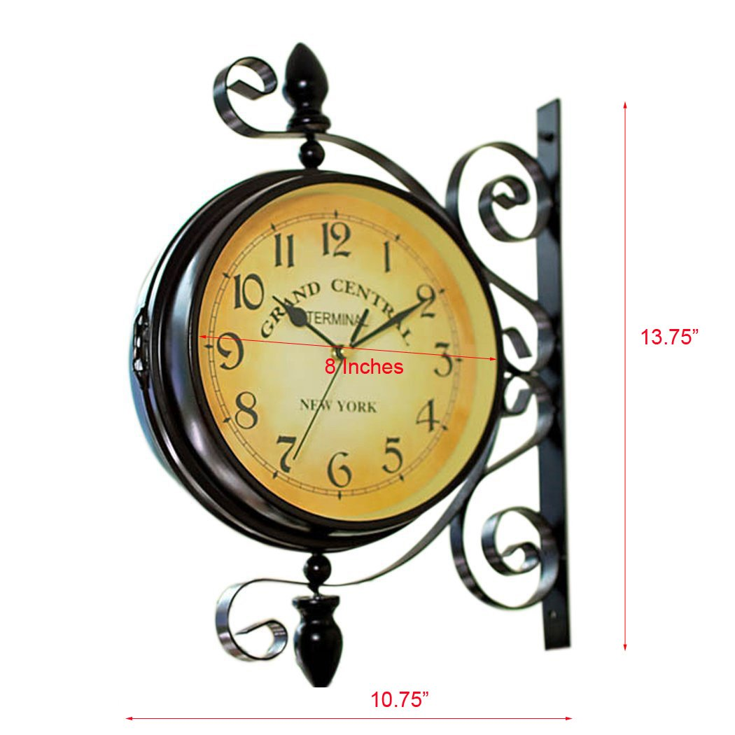 Amazon.com: Double Sided Wall Clock - Wrought Iron Vintage-Inspired ...