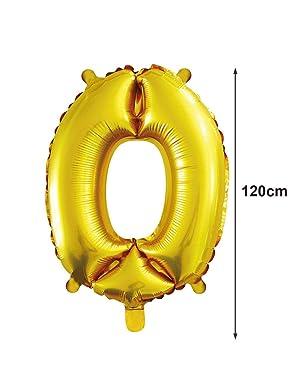 PARTY Globo Número Gigante en Color Dorado Metalizado Ideal para Fiesta de cumpleaños y Aniversarios - 105 cm - 40 Pulgadas - Hinchable - Tamaño Grande (0)