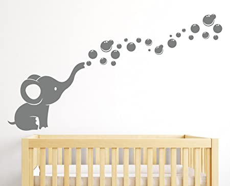 Elephant Bubbles Wall Decal Nursery Decor, Elephant Blowing Bubbles, Baby  Room Decor
