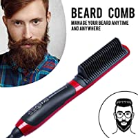 lesgos Beard Straighteners Comb, Electric Hair Curling Curler Brush Wet and Dry Dual Use Anti-Scald Ceramic Ionic Hair Brush For All Hair Types
