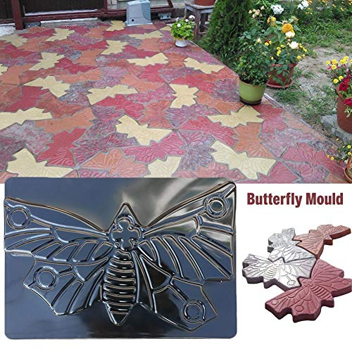 Butterfly Shape Stepping Stone Mold, Reusable Concrete Paving Molds Colorful Floor Tile Patchwork Plastic Floor Mould for Lawns Parks Gardens Beaches ()