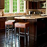 Christopher Knight Home 211321 Hazelnut Leather Backless Barstools (Set of 2)