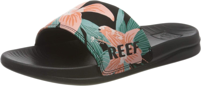 Hibiscus Reef Womens One Slide Beach Pool Summer Flip Flop Thongs Sliders