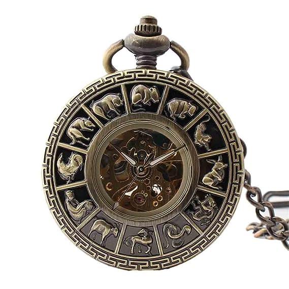 Reloj de Bolsillo mecánico Tallado Creativo Zodiac Boutique Reloj de Bolsillo mecánico de Bronce con Cadena