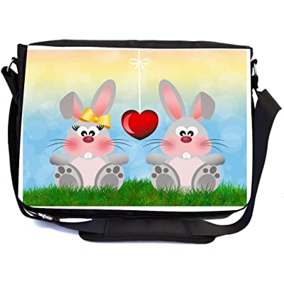 Rikki Knight Grey Pink Bunnies in Love Illustration Design Multifunction Messenger Bag - School Bag - Laptop Bag - with padded insert for School or Work - includes Pencil Case