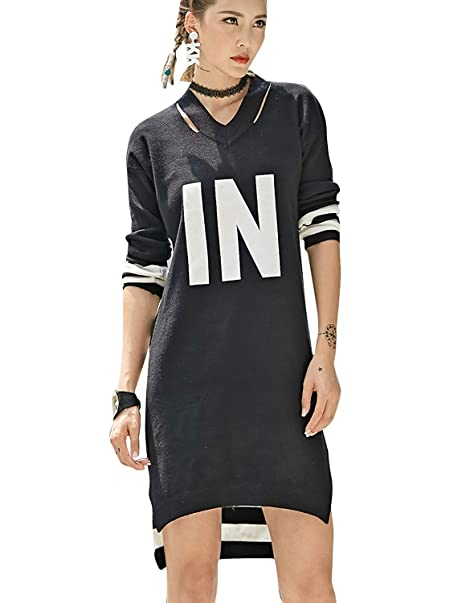 Vestidos De Camisa Elegantes Moda Pullover Mujer Otoño Carta Impresión Flecos Manga Larga Ropa V-Cuello Irregular Hippie Sport Shirt Vestidos Cómodo Dress: ...