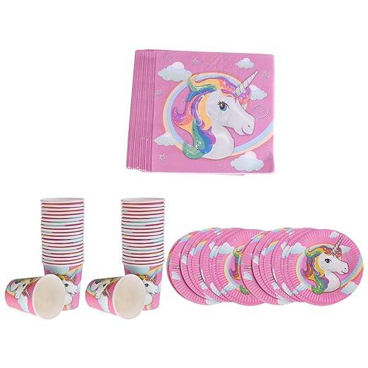 Paquete De 60 En Total Unicornio Copas De Papel Platos Servilletas Set Niños Fiesta De Cumpleaños Accesorios