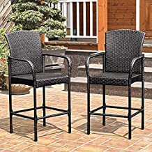 Tangkula Set of 2 Patio Bar Stools Indoor Outdoor Use Wicker Rattan Barstool with Footrest for Garden Pool Lawn Backyard Study Steel Frame Bar Stool Furniture (Big brown)