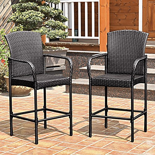 TANGKULA Set of 2 Patio Bar Stools Indoor Outdoor Use Wicker Rattan Barstool with Footrest for Garden Pool Lawn Backyard Study Steel Frame Bar Stool Furniture (Big brown) 2 Rattan Bar Stools