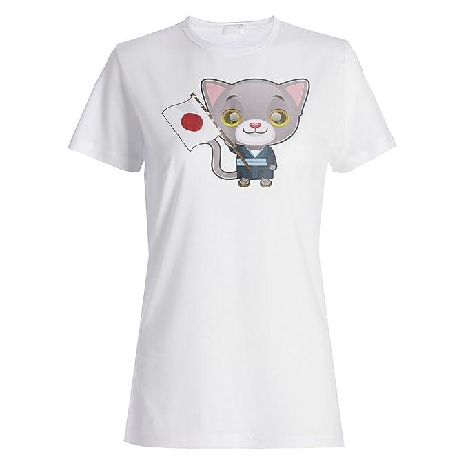 INNOGLEN Bandera Japonesa Gatos Diversión Camiseta de Las Mujeres p391f: Amazon.es: Ropa y accesorios