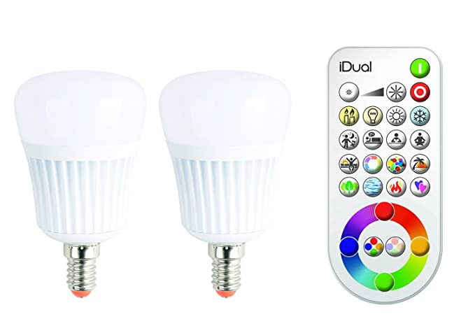 Jedi lighting idual lampada led rgb e14 230 v 2 pz dimmerabile